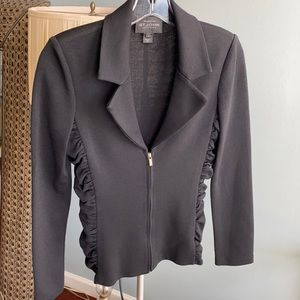 St. John black jacket ruched sides zip up